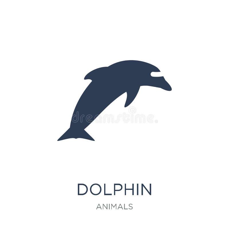 Delfin ikona Modna płaska wektorowa delfin ikona na białym backgroun ilustracja wektor