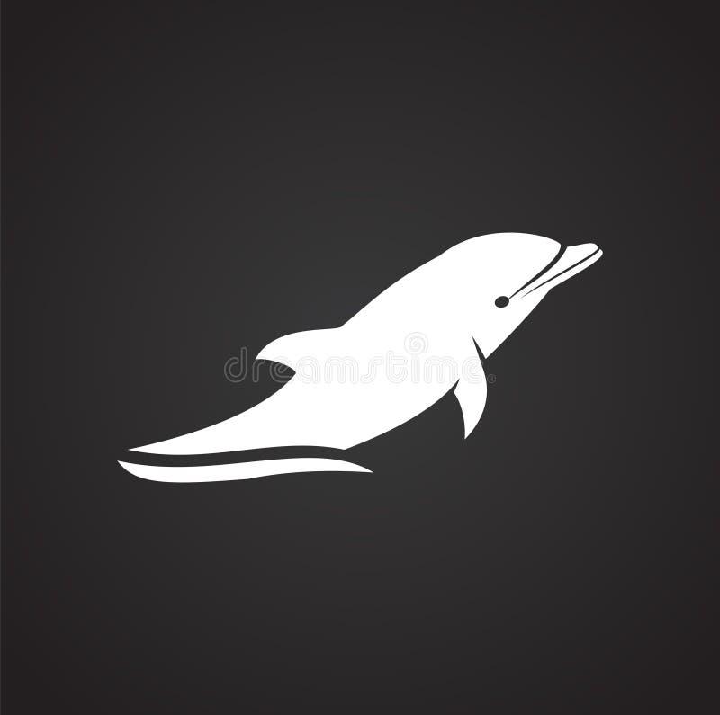 Delfin ikona na tle dla grafiki i sieci projekta samolotu terminal ilustracyjny prosty Internetowy poj?cie symbol dla strona inte ilustracji