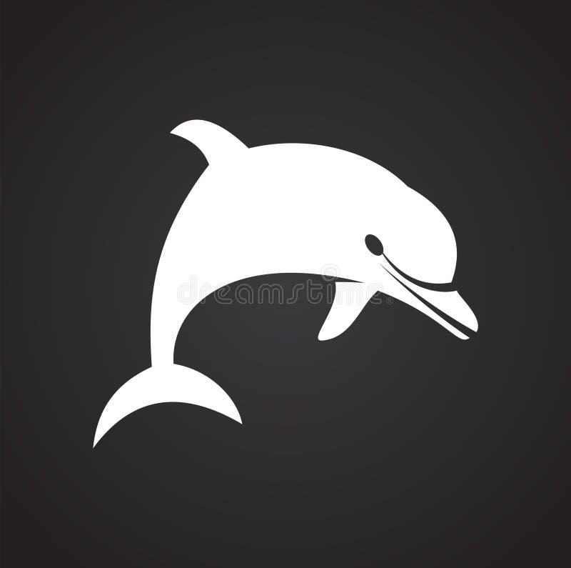 Delfin ikona na tle dla grafiki i sieci projekta samolotu terminal ilustracyjny prosty Internetowy poj?cie symbol dla strona inte ilustracja wektor