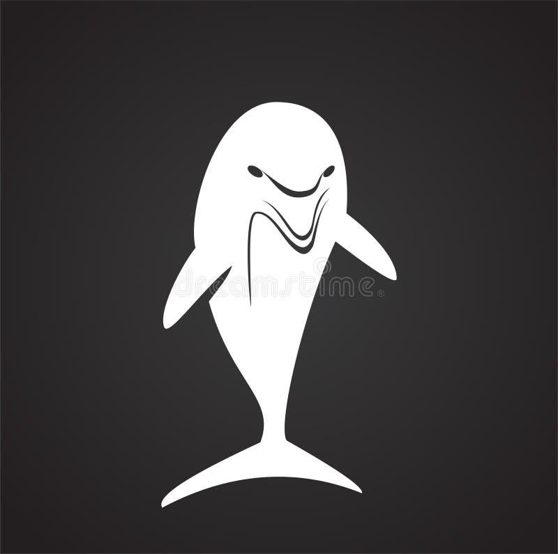 Delfin ikona na tle dla grafiki i sieci projekta samolotu terminal ilustracyjny prosty Internetowy poj?cie symbol dla strona inte royalty ilustracja