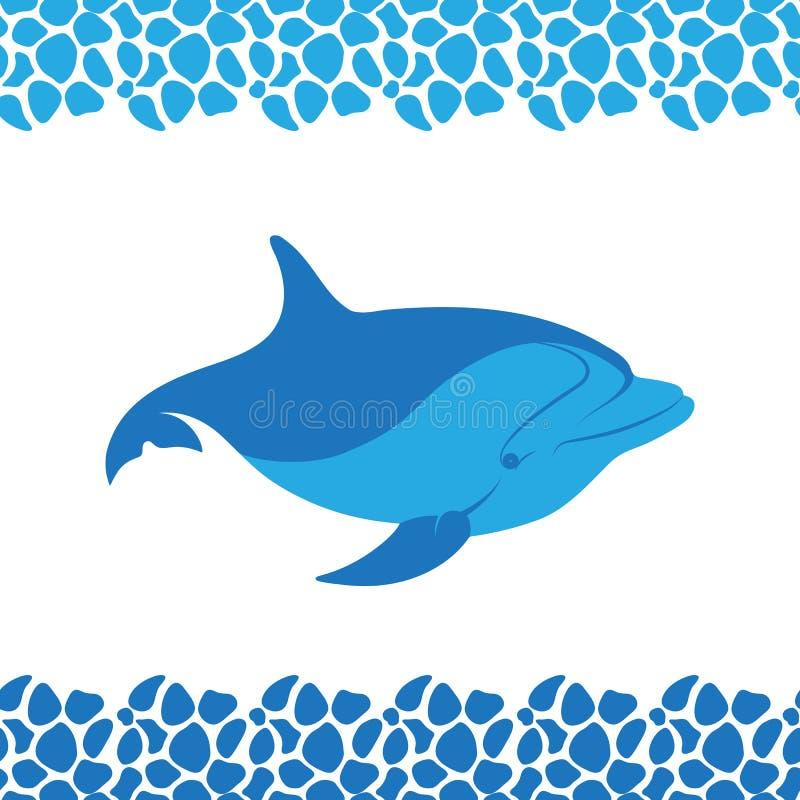 Delfin ikona Ramowy wzór od dennych otoczaków ilustracji