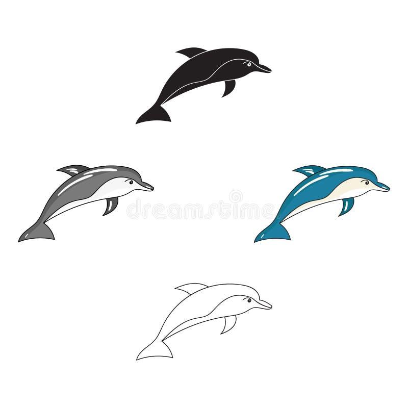 Delfin ikona w kreskówce, czerń styl odizolowywający na białym tle Dennych zwierz?t symbolu zapasu wektoru ilustracja royalty ilustracja