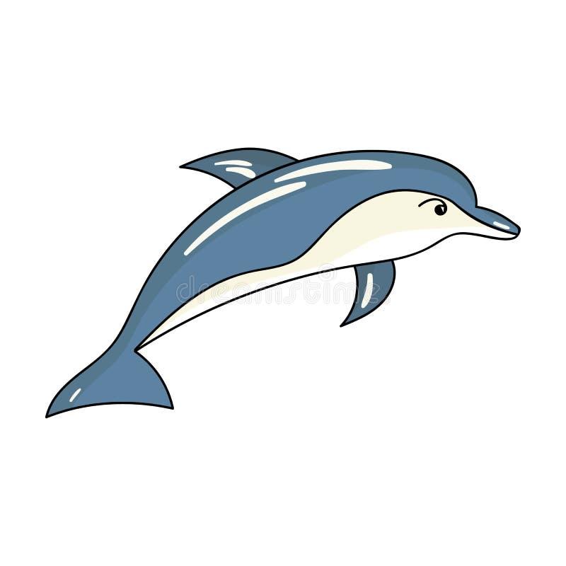 Delfin ikona w kreskówka stylu odizolowywającym na białym tle Dennych zwierząt symbolu zapasu wektoru ilustracja ilustracja wektor