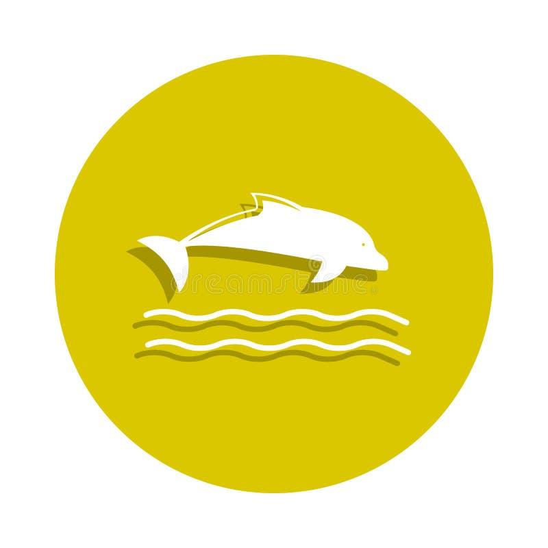 delfin ikona w odznaka stylu Jeden sheashell plaży inkasowa ikona może używać dla UI, UX royalty ilustracja