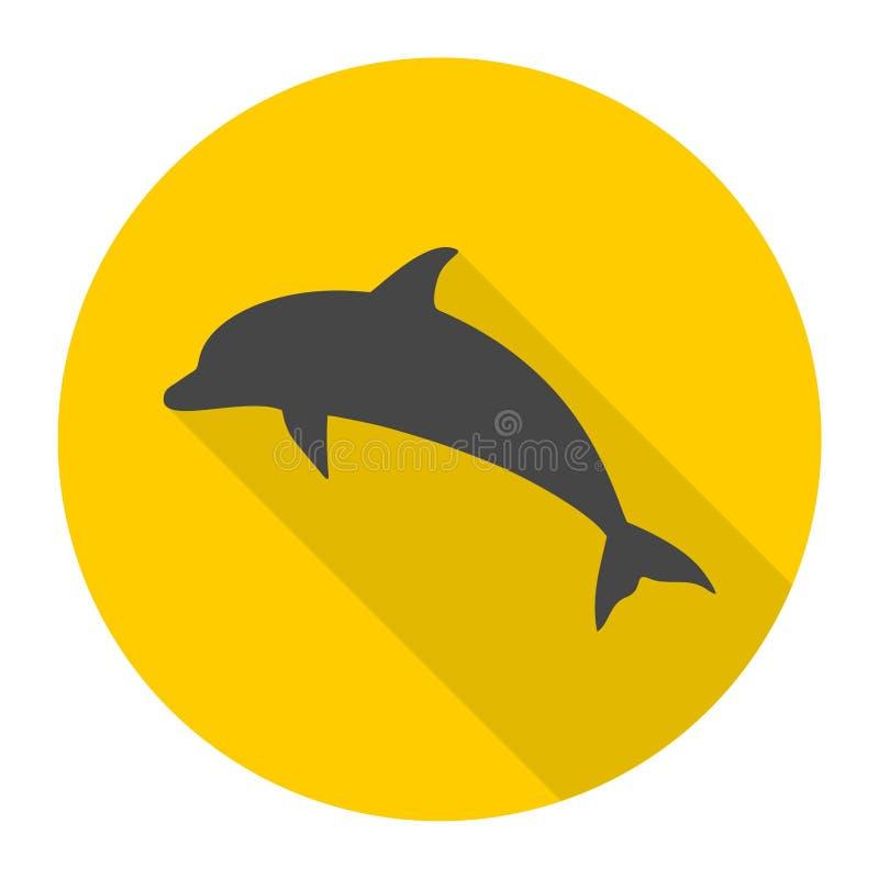 Delfin ikona z długim cieniem royalty ilustracja