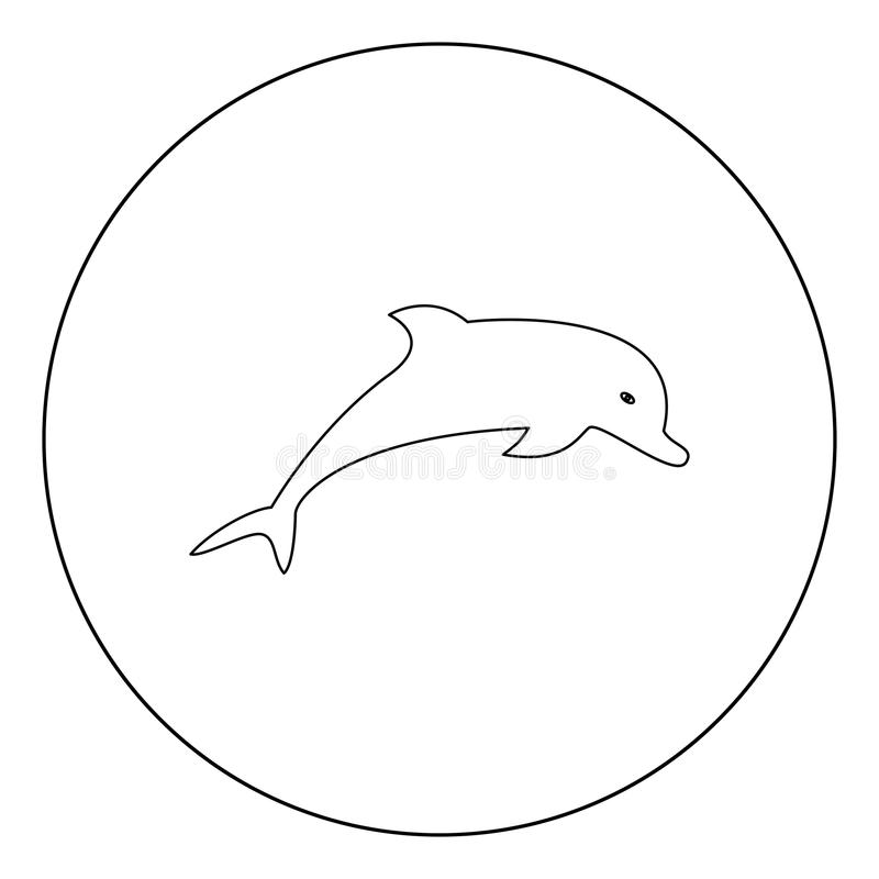 Delfin ikony czerni kolor w okręgu ilustracja wektor