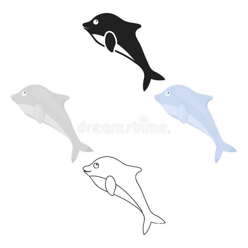 Delfin ikony kreskówka, czarna Upala zwierz?c? ikon? od du?ej zwierz? kresk?wki, czarnej ilustracji