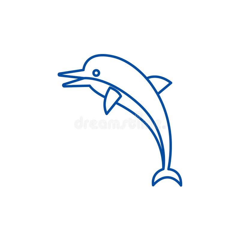 Delfin ikony kreskowy pojęcie Delfinu płaski wektorowy symbol, znak, kontur ilustracja royalty ilustracja