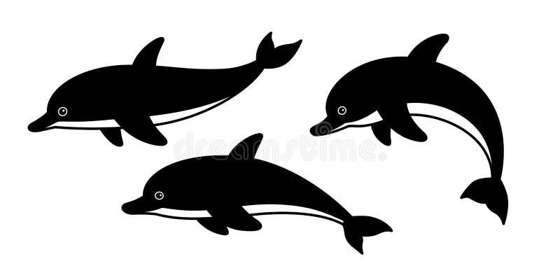 Delfin ikony loga rekinu rybiego wielorybiego postać z kreskówki symbolu ilustracyjny doodle ilustracji