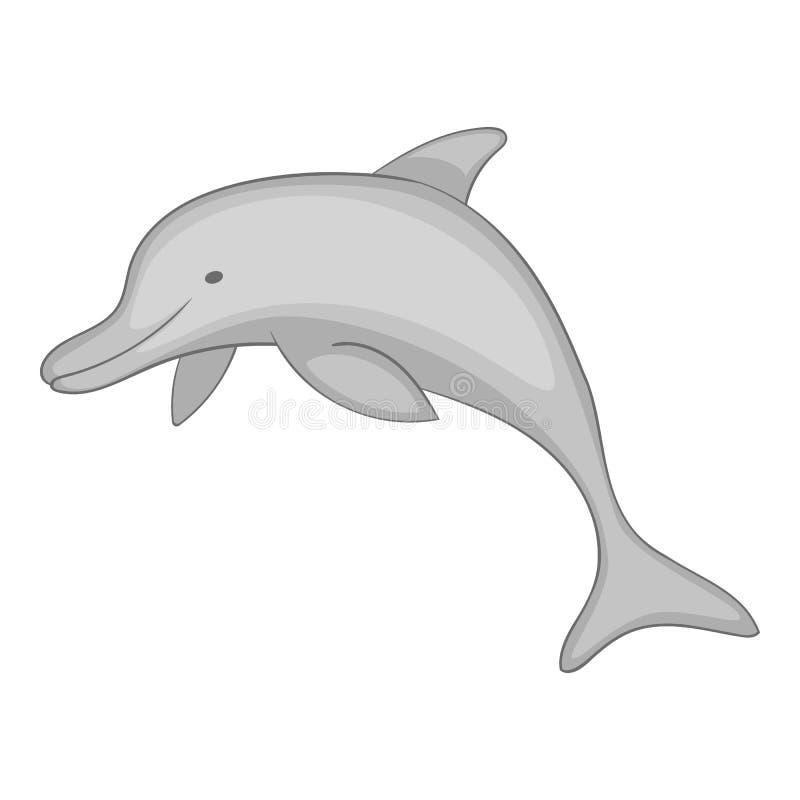 Delfin ikony monochrom ilustracja wektor
