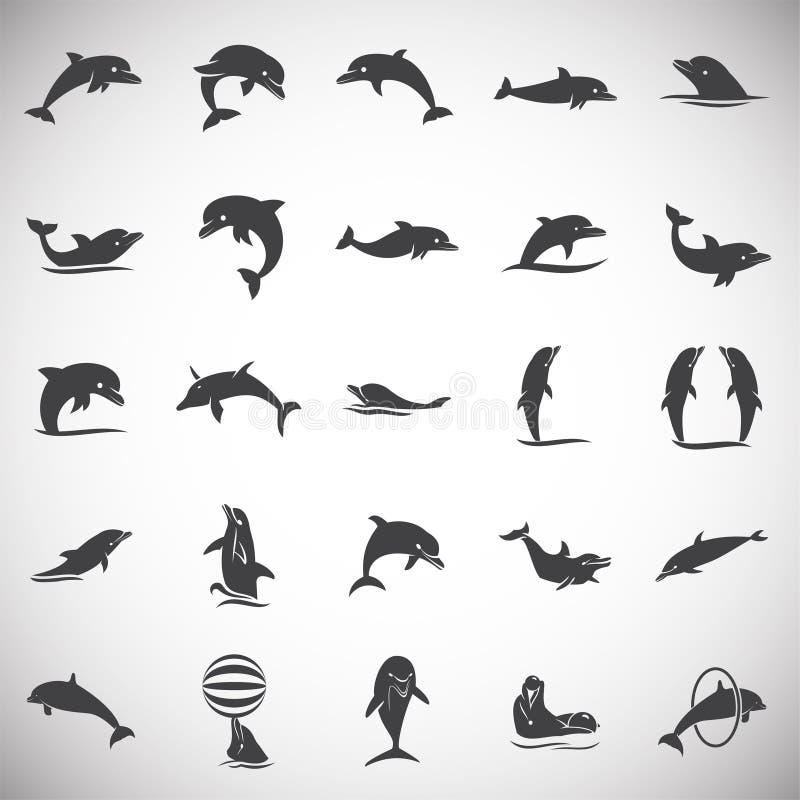 Delfin ikony ustawiać na tle dla grafiki i sieci projekta samolotu terminal ilustracyjny prosty Internetowy poj?cie symbol dla st ilustracji