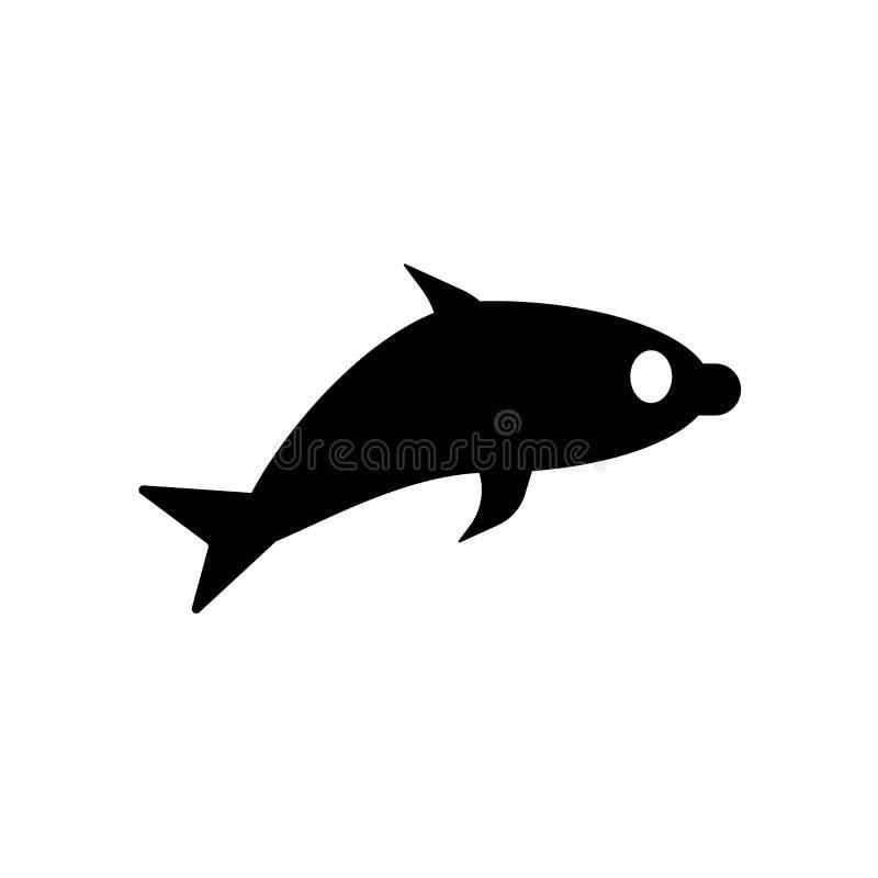 Delfin ikony wektor odizolowywający na białym tle, delfinu znak, ciemny piktogram ilustracji