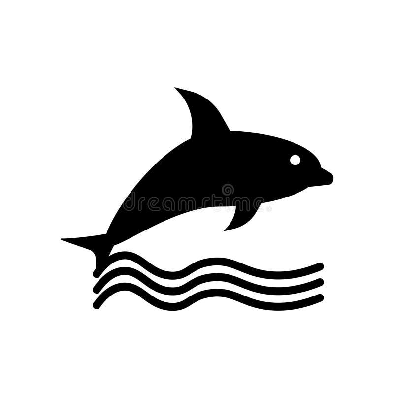 Delfin ikony wektor odizolowywający na białym tle, delfinu znak, czarni symbole ilustracja wektor