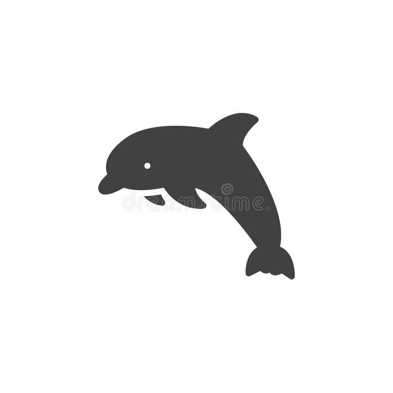 Delfin ikony wektor, wypełniający mieszkanie znak royalty ilustracja