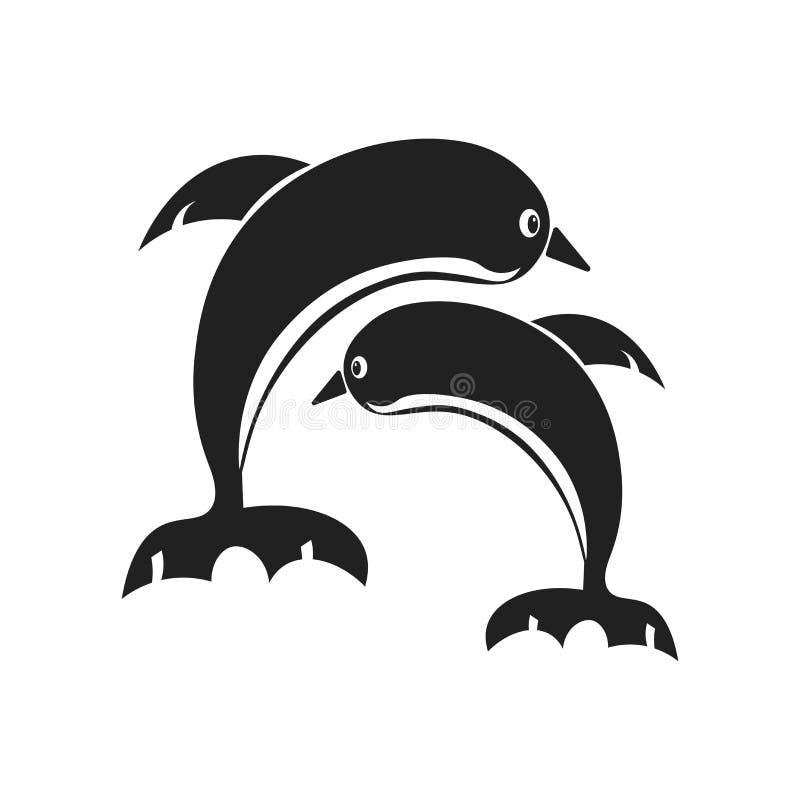 Delfin ikony wektoru znak i symbol odizolowywający na białym tle, delfinu logo pojęcie ilustracji