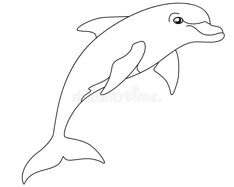 Delfin jest morskim ssakiem Bottlenose delfin - liniowy wektorowy wizerunek dla barwić royalty ilustracja