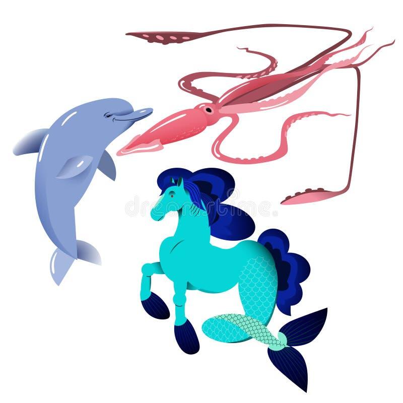 Delfin kałamarnicy humboldta i dennego konia ilustracji wektorowy set, odizolowywający przedmioty na białym tle ilustracji