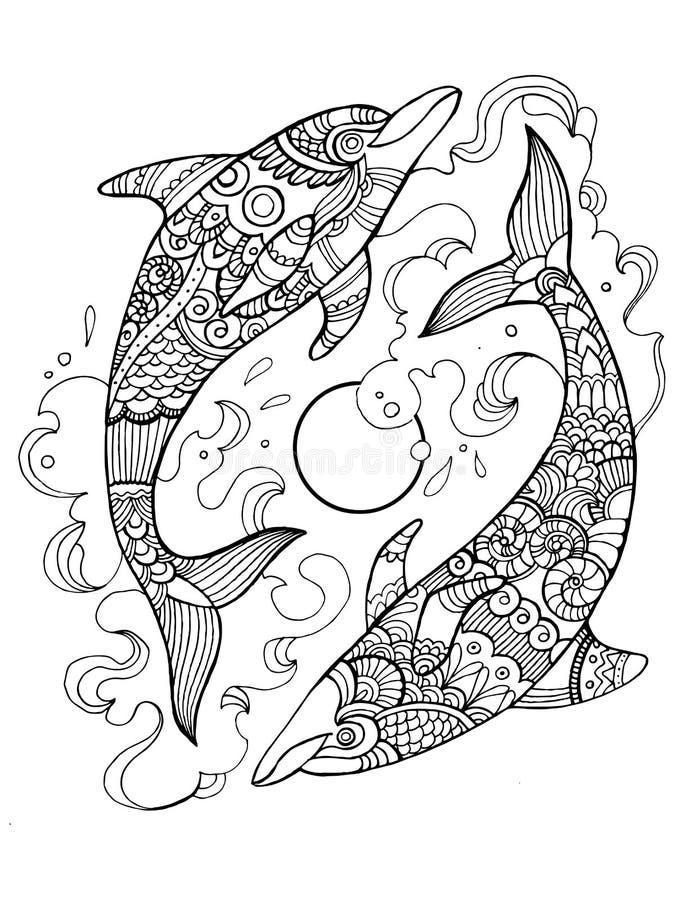 Delfin kolorystyki książka dla dorosłych wektorowych royalty ilustracja