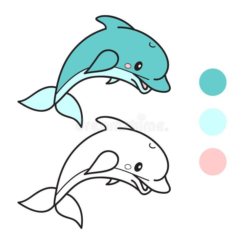 delfin Kolorystyki książki strona obcy kreskówki kota ucieczek ilustraci dachu wektor royalty ilustracja