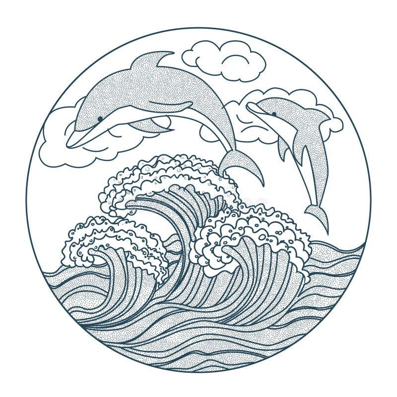 Delfin kropkuje ikonę ilustracji