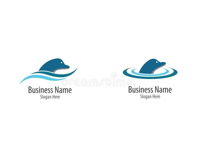 Delfin Logo Template royaltyfri illustrationer
