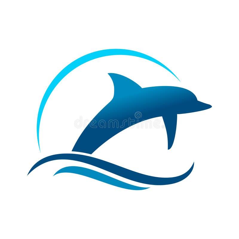 Delfin Morski Skacze symbolu projekt ilustracji