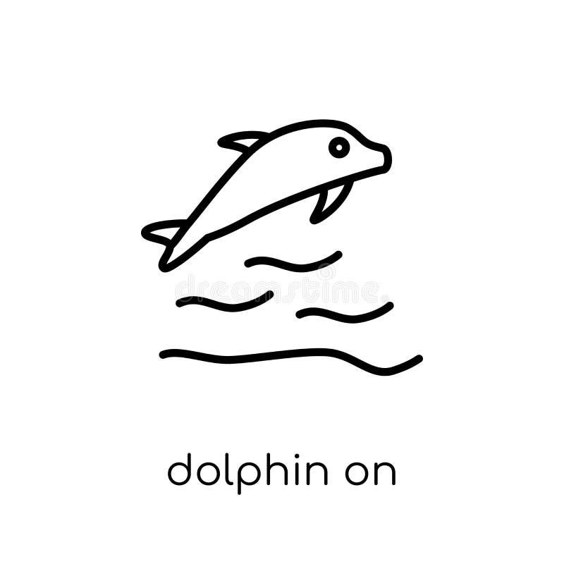Delfin na wodnych fal ikonie od lato kolekcji ilustracja wektor
