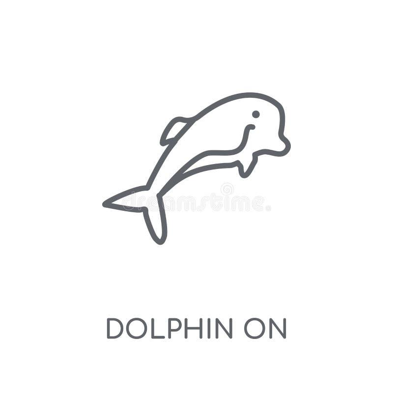 Delfin na wodnych fal liniowej ikonie Nowożytny konturu delfin na wa royalty ilustracja