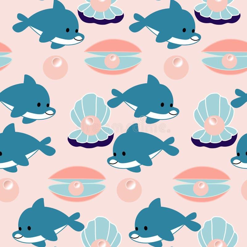 Delfin och pärlor i en sömlös modelldesign vektor illustrationer