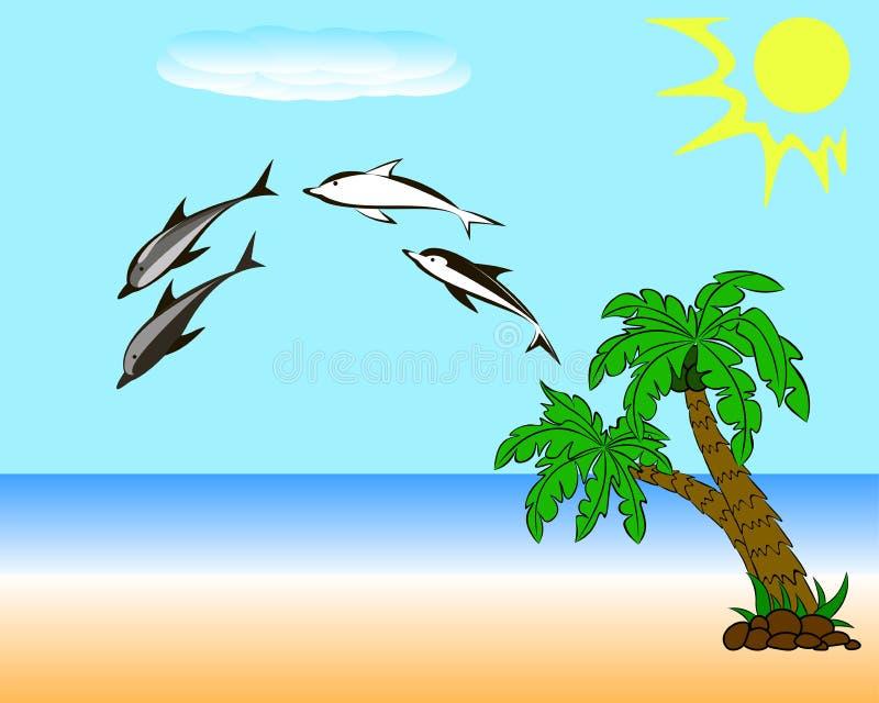 Delfin på stranden vektor illustrationer