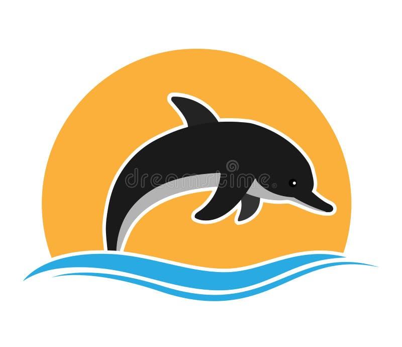 Delfin przeciw falom i słońcu Płaski projekt dla logo ilustracji