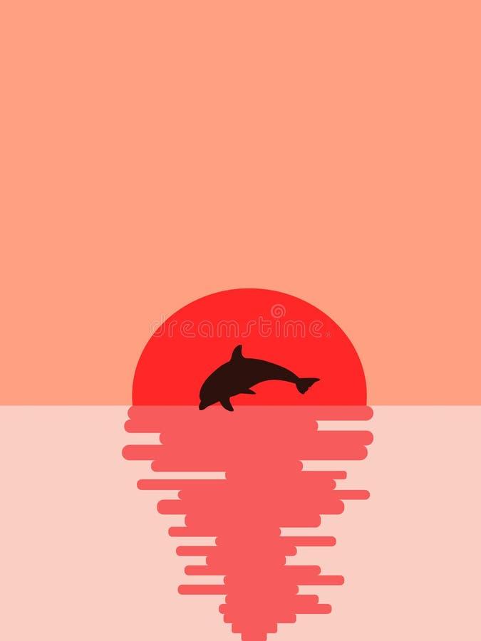 Delfin przeciw słońcu ilustracji