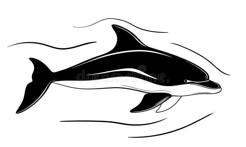 Delfin, ręka rysująca akcyjna wektorowa ilustracja royalty ilustracja