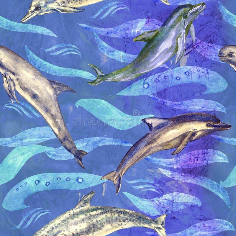 Delfin rozmaitość: pospolity bottlenose, Beaked, Atlantyk Dostrzegał i Risso ` s, bezszwowy wzór na błękitnej, purpurowej ocean p royalty ilustracja