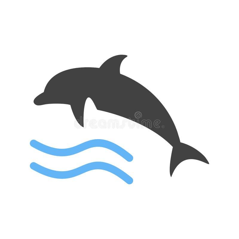 Delfin, ryba, woda royalty ilustracja