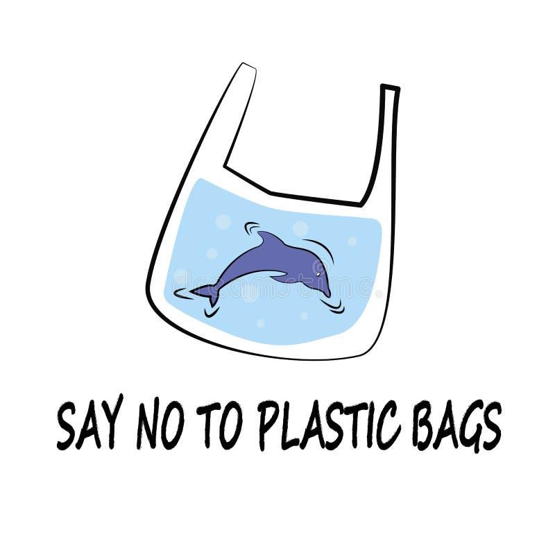 Delfin säger inget till plast- stil för vektorillustrationklottret stock illustrationer