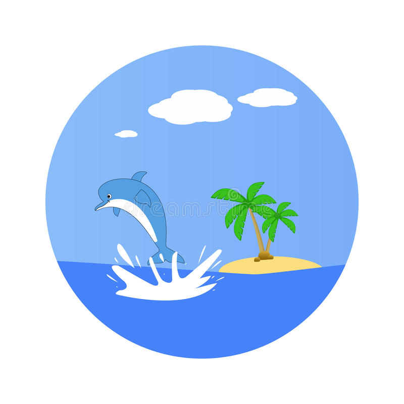 Delfin skacze z wody Bezludna wyspa 3d rozjaśniają wyspy palmowych renderingu nieba drzewa royalty ilustracja