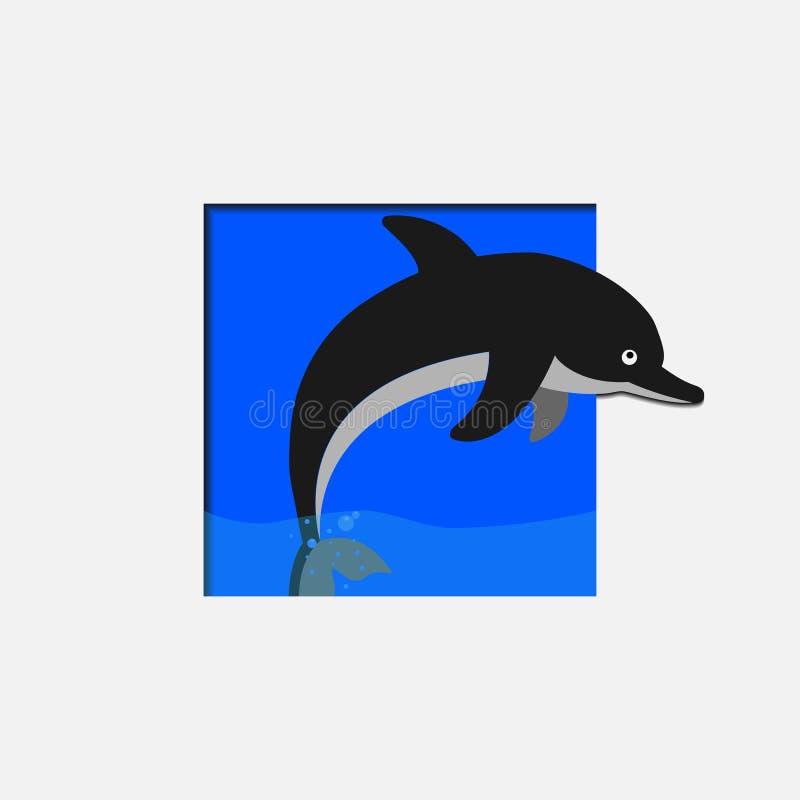 Delfin skacze z zbiornika wodnego ilustracja wektor