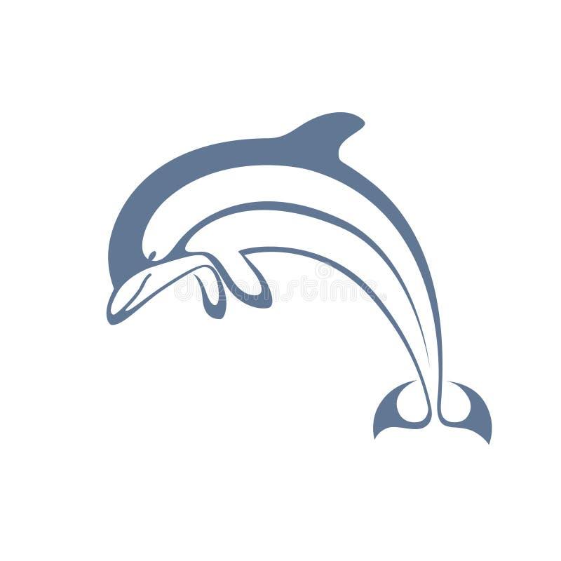 Delfin som hoppar den grafiska symbolen stock illustrationer