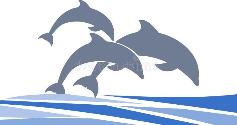 Delfin som simmar vektorn, undertecknar för din design eller logo royaltyfria bilder