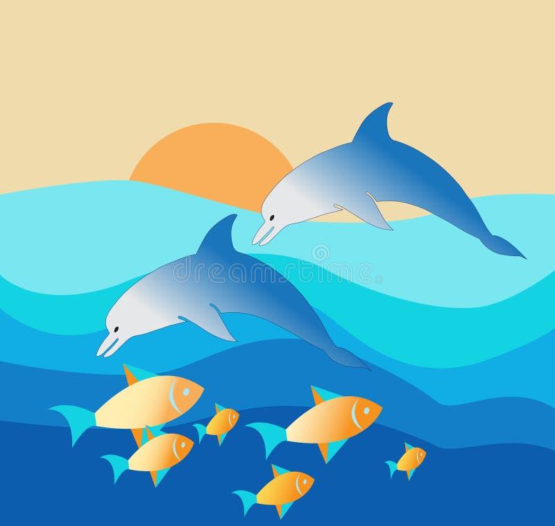 Delfin som tycker om deras läckra lås i en solnedgång stock illustrationer