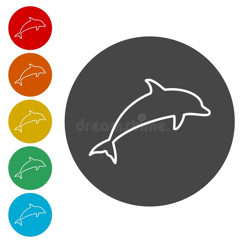Delfin sylwetek ikony ustawiać ilustracji