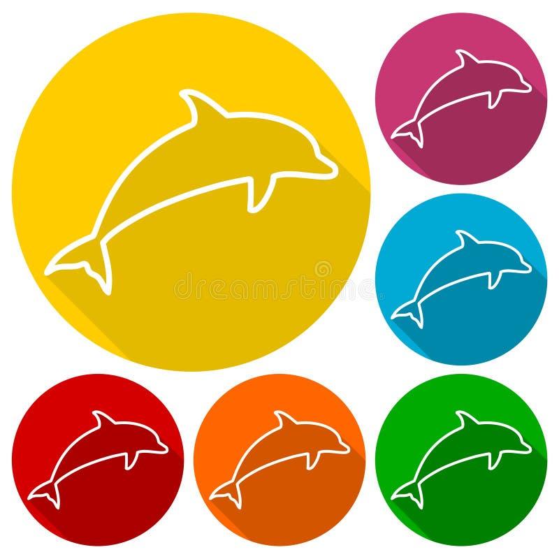 Delfin sylwetek ikony ustawiać z długim cieniem ilustracji
