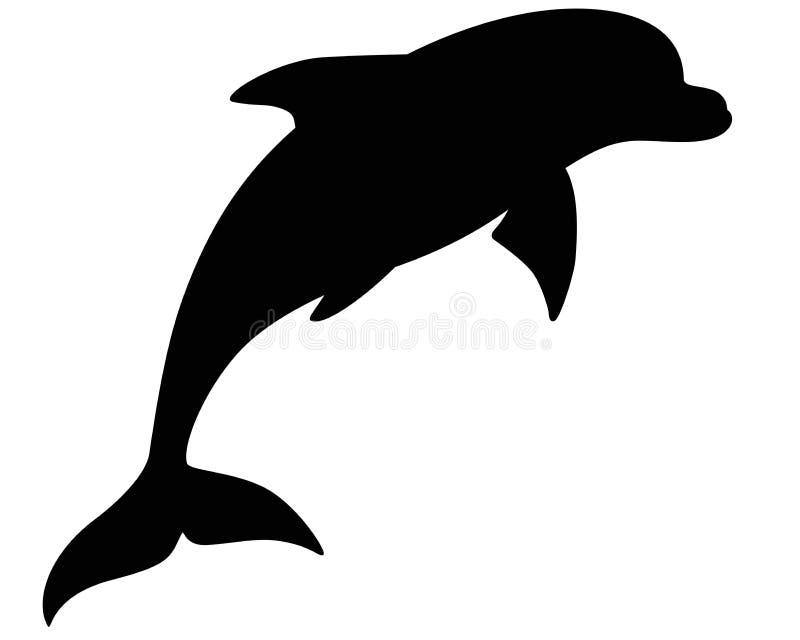 Delfin sylwetka - morski ssak Bottlenose delfin - wektorowy wizerunek dla znaka lub logo ilustracji