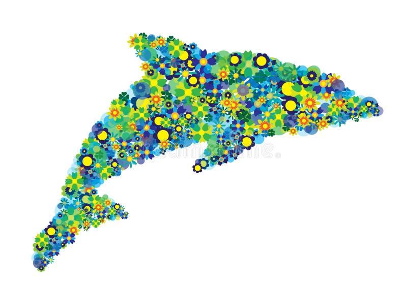 Delfin sylwetka z kolorowymi kwiatami i okrąg odizolowywającym obrazkiem royalty ilustracja