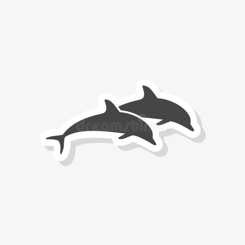 Delfin sylwetki rybi zwierzęcy majcher, sylwetka delfin, prosta wektorowa ikona royalty ilustracja