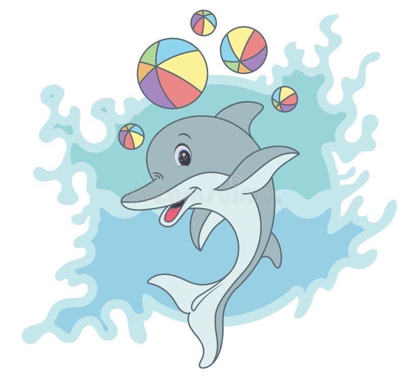 Delfin szczęśliwa kreskówka royalty ilustracja