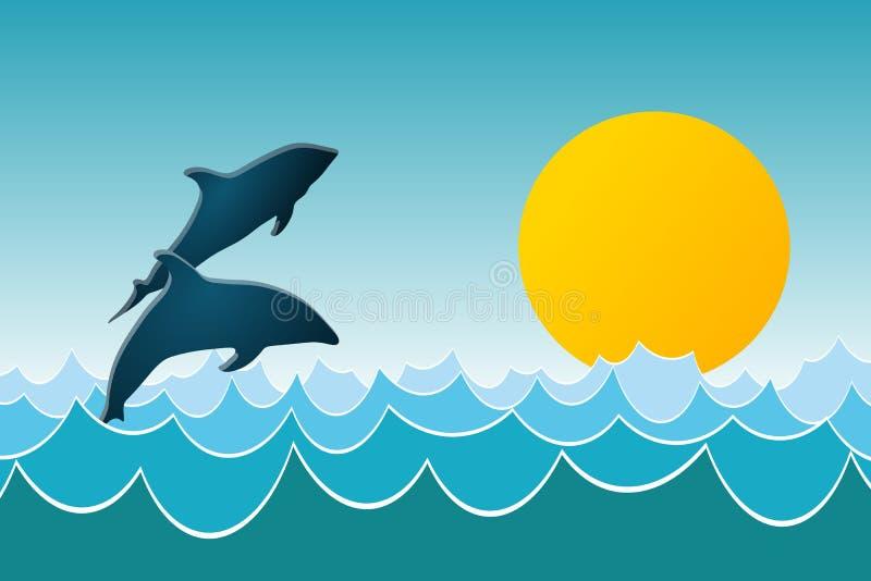 Download Delfin sztuka ilustracja wektor. Obraz złożonej z powierzchnia - 22653463