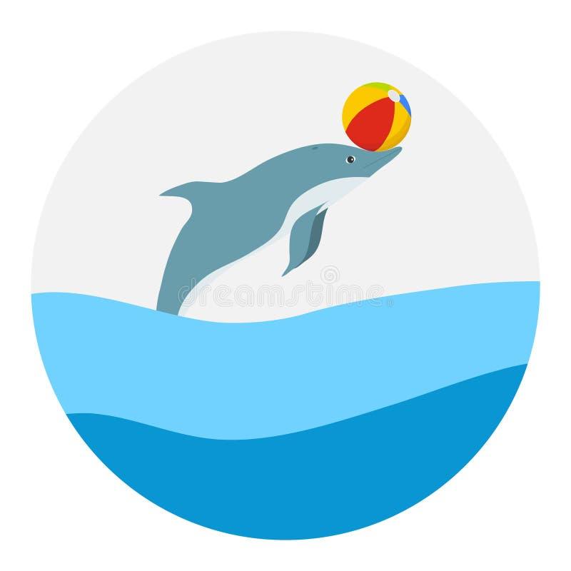 Delfin sztuki z piłką royalty ilustracja