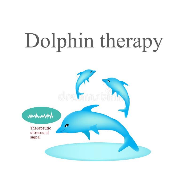 Delfin terapia Wektorowa ilustracja na odosobnionym tle ilustracja wektor